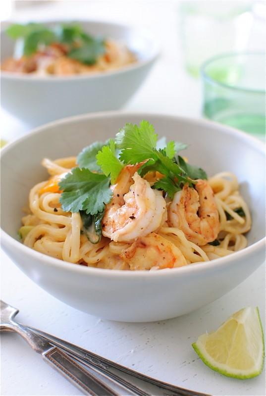 One Pan Coconut Shrimp Noodle Bowls / Bev Cooks