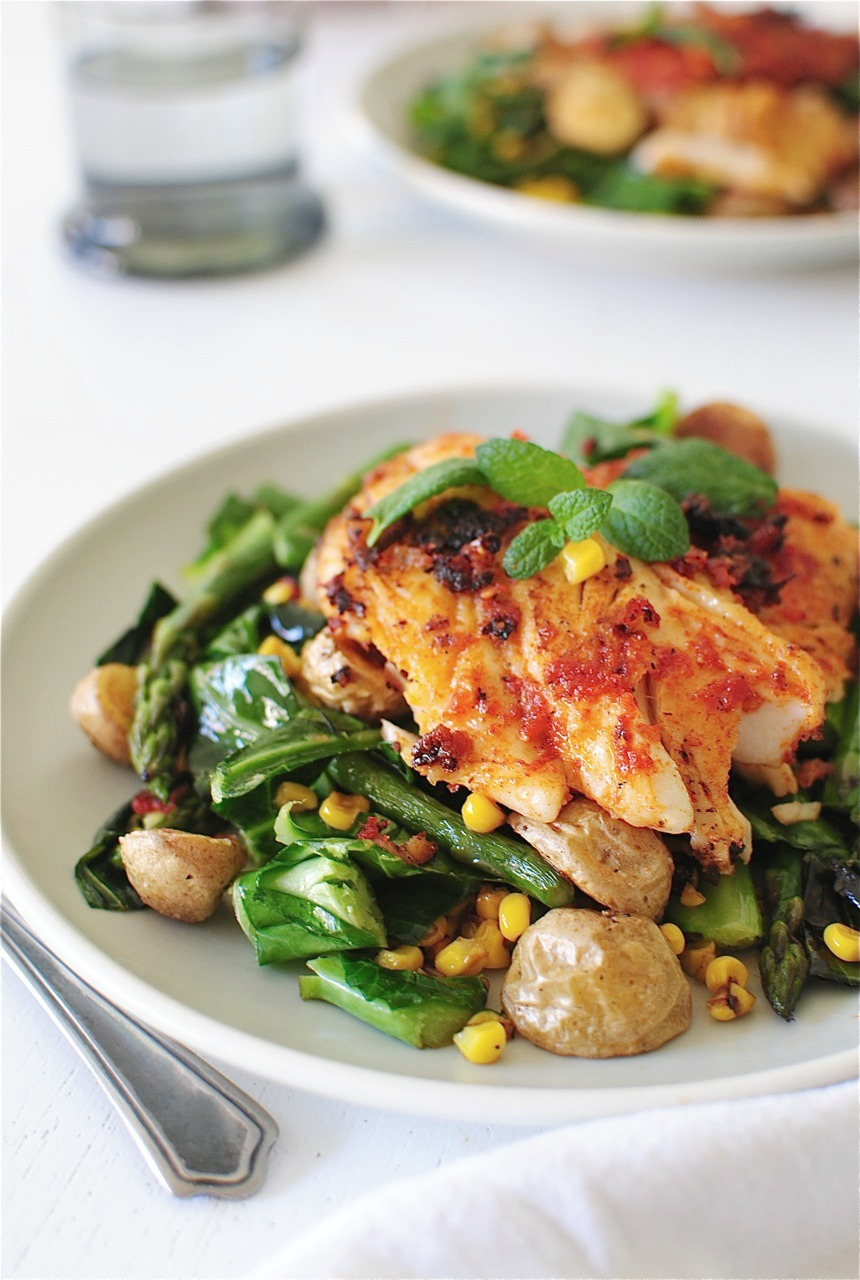 Sun dried tomato cod with roasted potatoes and greens for Dry roasted tomatoes