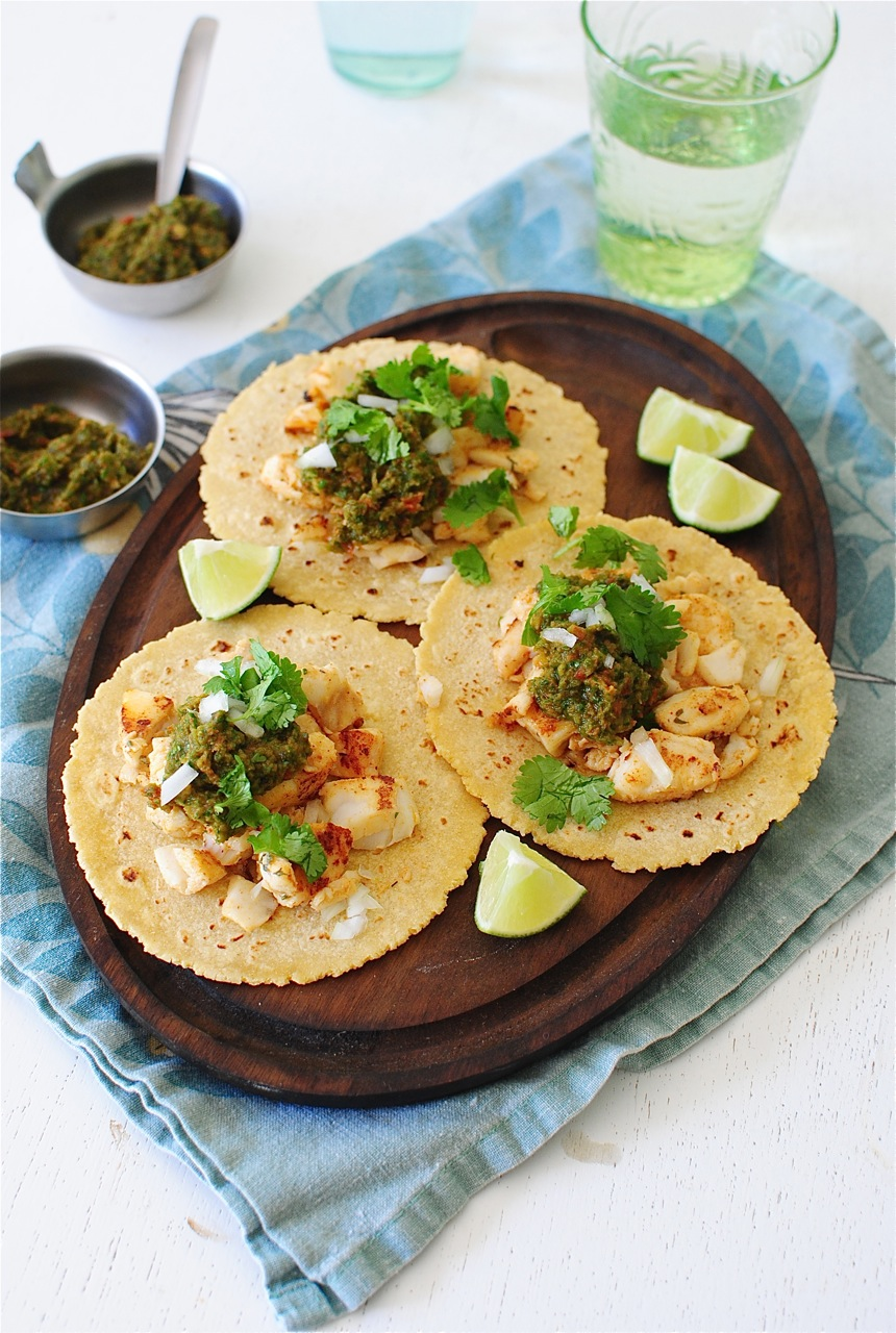 Fish tacos with a roasted poblano salsa bev cooks for Cod fish tacos
