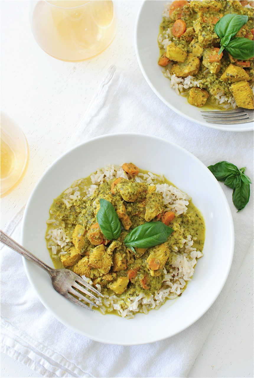 Coconut Basil Chicken with Brown Rice | Bev Cooks