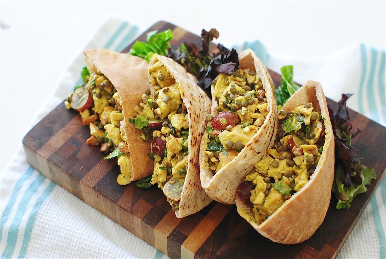 Pita Bread Sandwiches Curried chicken and lentil pita pockets - bev ...