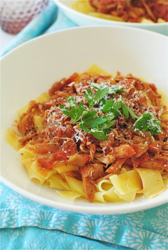 Slow Cooked Pork over Pappardelle Pasta | Bev Cooks