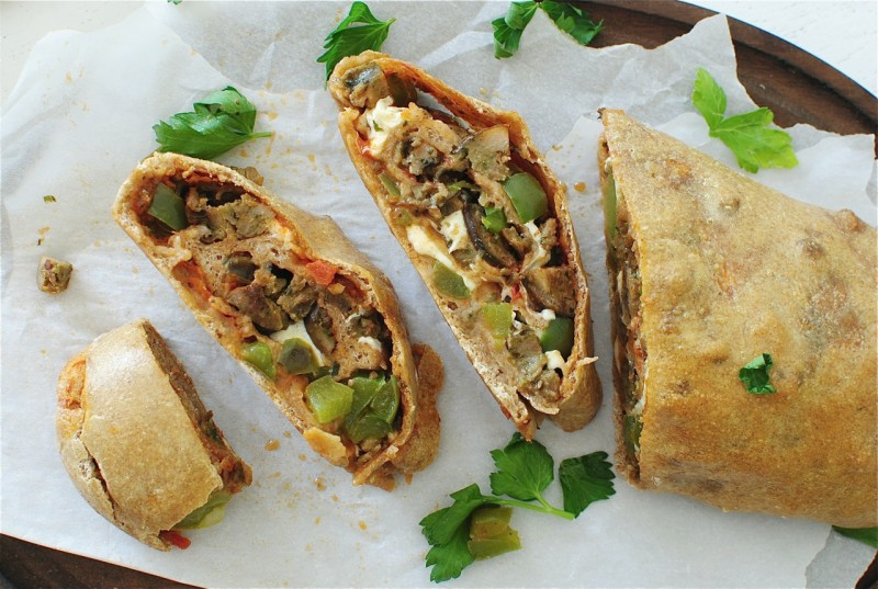 Whole Wheat Stromboli with Chicken Sausages and Peppers