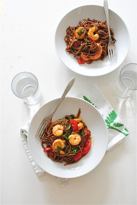 One-Pan Soba Noodles with Shrimp