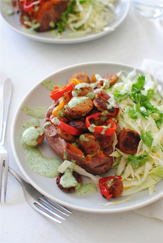 Baked Sweet Potatoes with Chicken Sausages, Peppers and a Cilantro Sauce