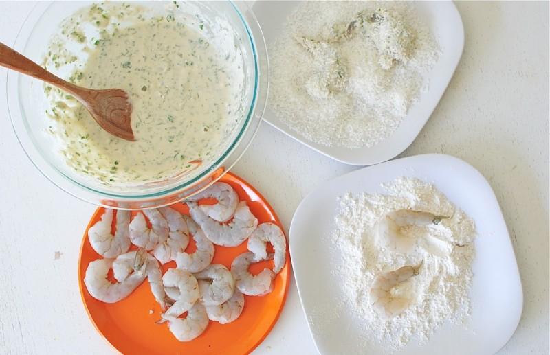 Wine-Battered Coconut Shrimp over Brown Rice