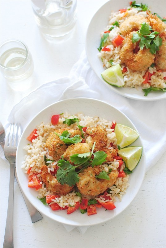 Wine-Battered Coconut Shrimp over Brown Rice
