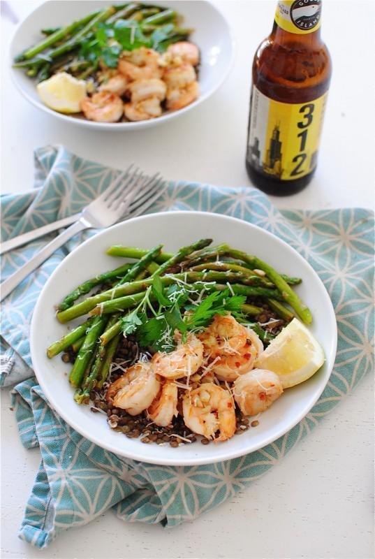 French Lentils with Lemony Shrimp and Asparagus / Bev Cooks