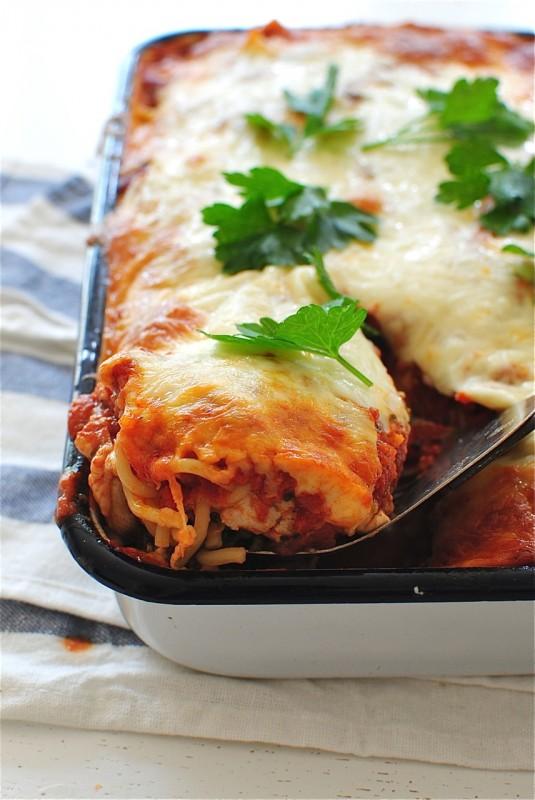 One Pan Chicken Spaghetti Bake / Bev Cooks