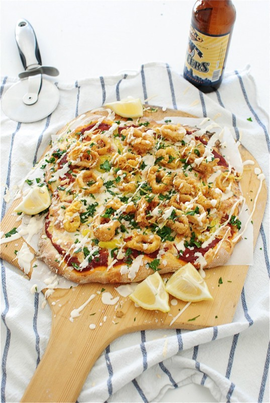Beer-Battered Fried Calamari Pizza / Bev Cooks