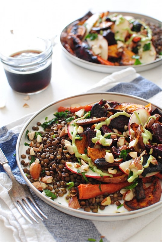French Lentils with Roasted Root Vegetables / Bev Cooks