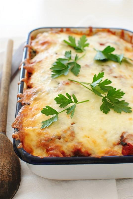 Polenta, Sausage and Spinach Casserole / Bev Cooks