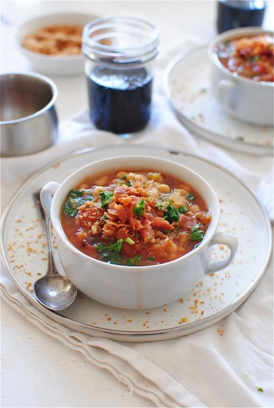 Slow Cooker Smoky White Bean Soup / Bev Cooks