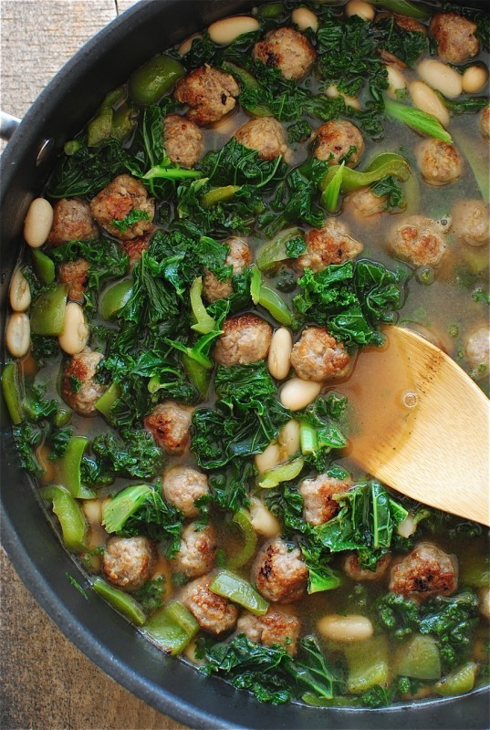 Soup with Sausage Meatballs, White Beans and Kale / Bev Cooks