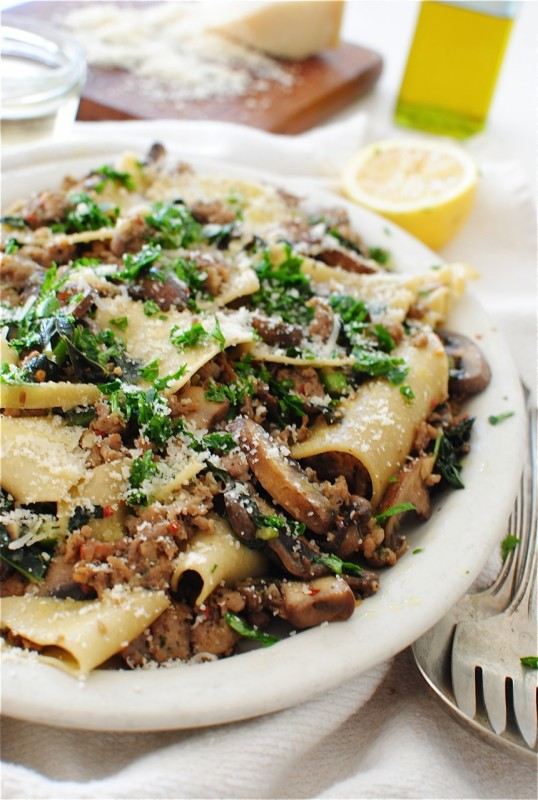 Broken Pasta with Kale, Mushrooms and Sausage / Bev Cooks