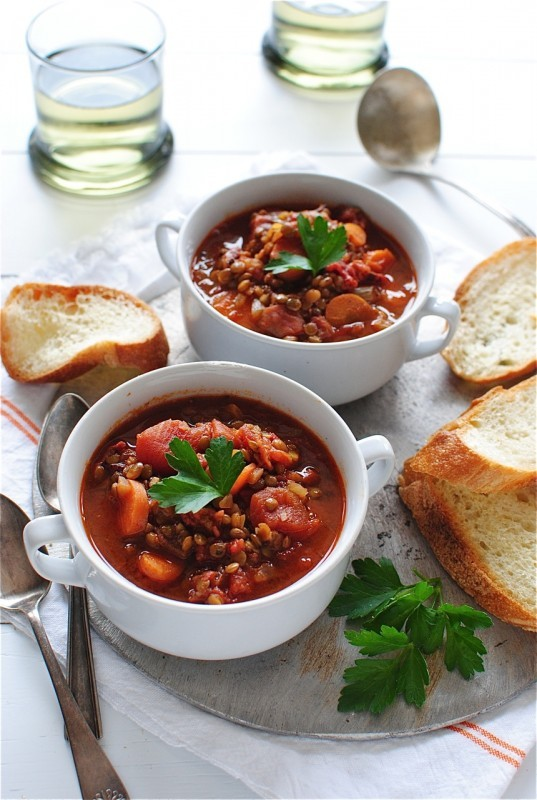Lentil and Tomato Soup / Bev Cooks