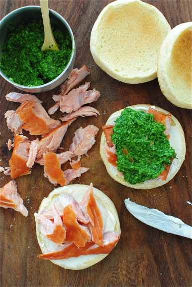 Smoked Salmon and Parsley Pesto Sandwiches / Bev Cooks