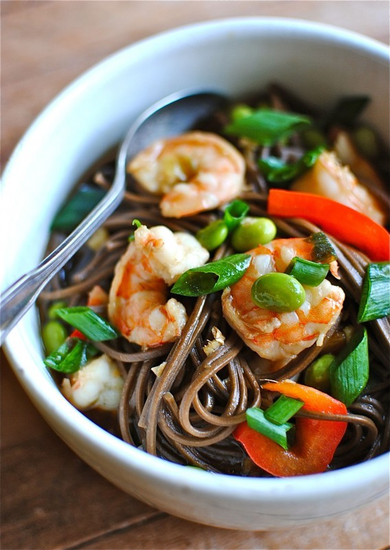 Soba Noodle Soup with Shrimp and Veggies / Bev Cooks