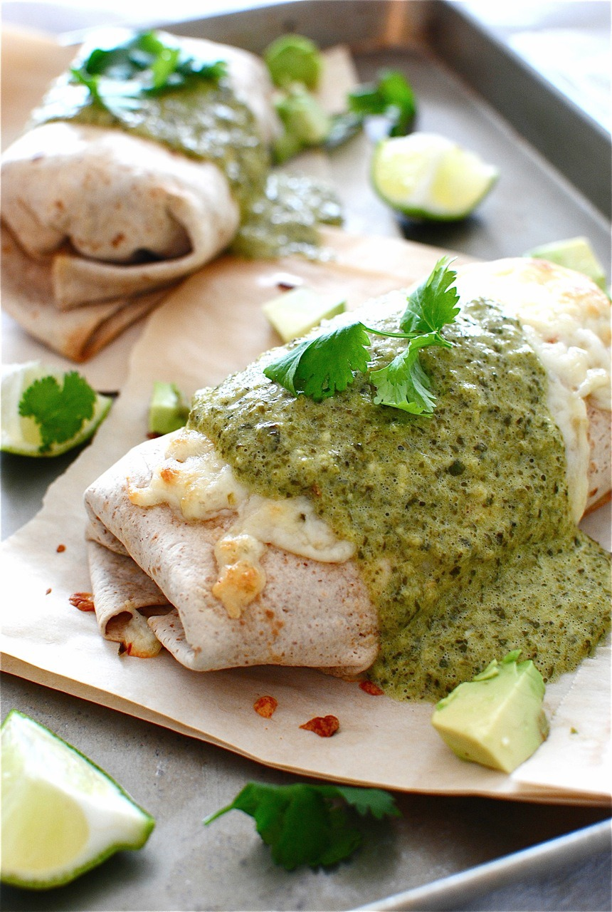 Baked Chicken and Avocado Burritos with a Creamy Roasted Poblano Sauce ...