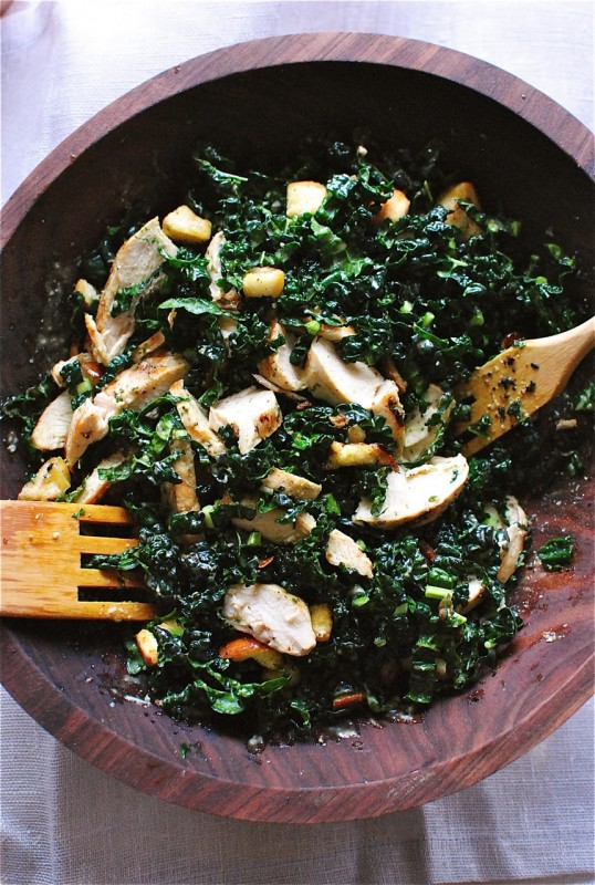 Kale Caesar Salad with Grilled Chicken / Bev Cooks
