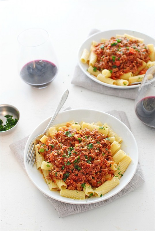 Turkey Bolognese with Rigatoni / Bev Cooks