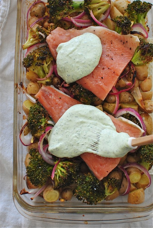 Creamy Salmon, Broccoli and Potato Bake / Bev Cooks