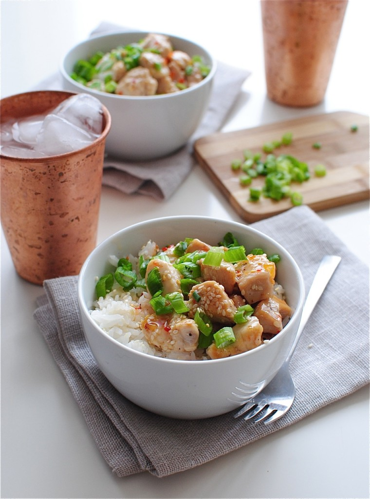 Sweet Chili Chicken with Coconut Rice / Bev Cooks