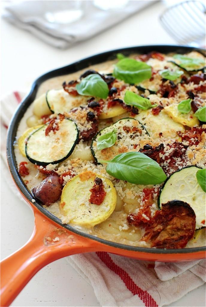 Creamy Gnocchi, Sausage and Veggie Skillet Bake / Bev Cooks