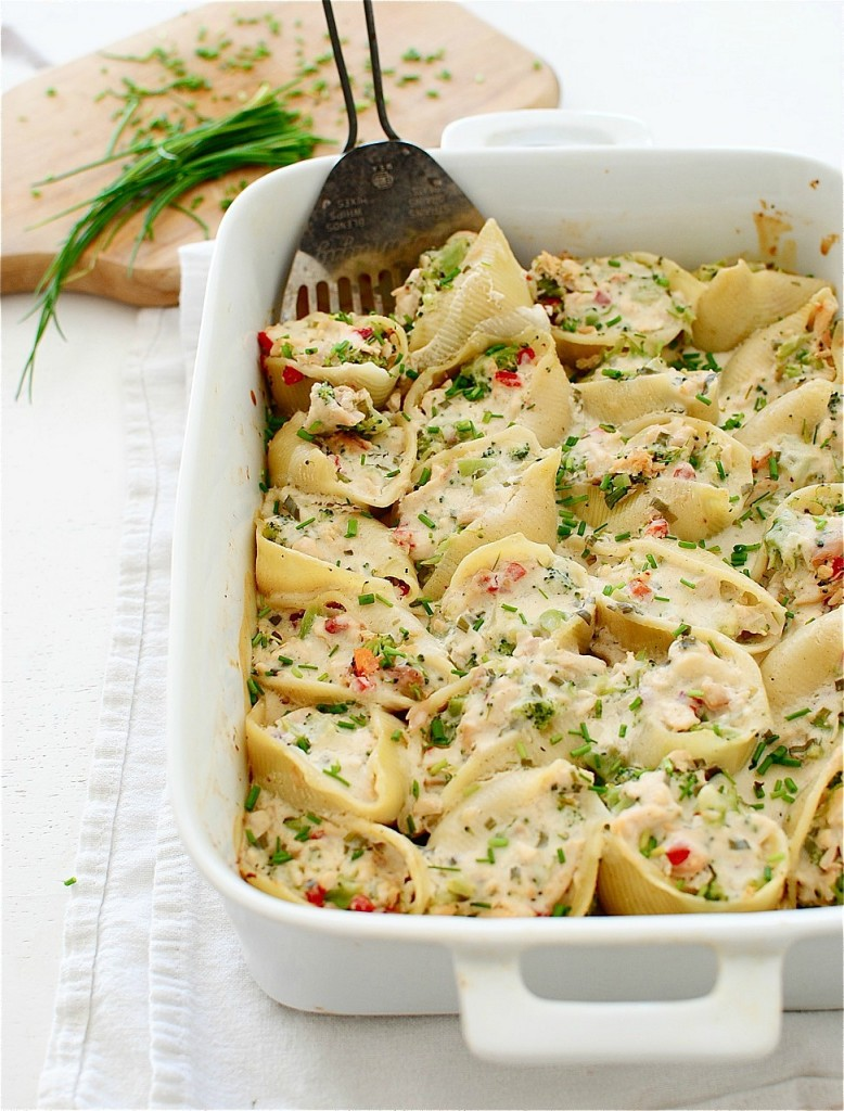 Chicken and Broccoli Stuffed Shells with a Creamy Chive Sauce / Bev Cooks