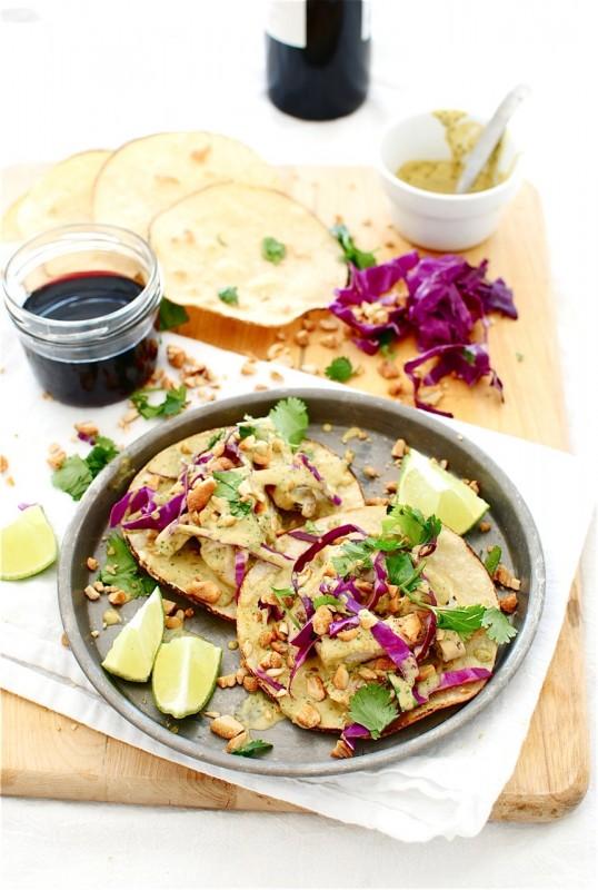 Thai Peanut Chicken Tostadas / Bev Cooks