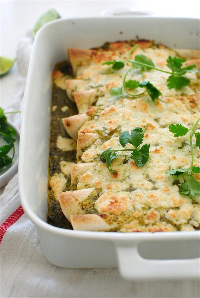Pulled Pork Salsa Verde Enchiladas / Bev Cooks