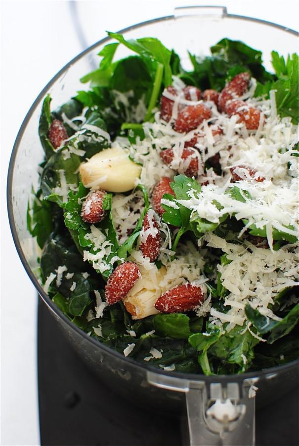 Bucatini Pasta with Kale Pesto and Sardines / Bev Cooks