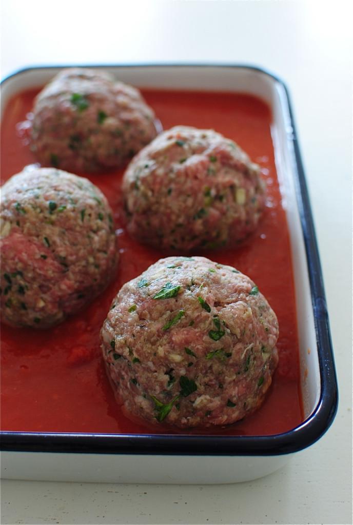 Giant Mozzarella-Stuffed Meatball and Pasta Bake / Bev Cooks