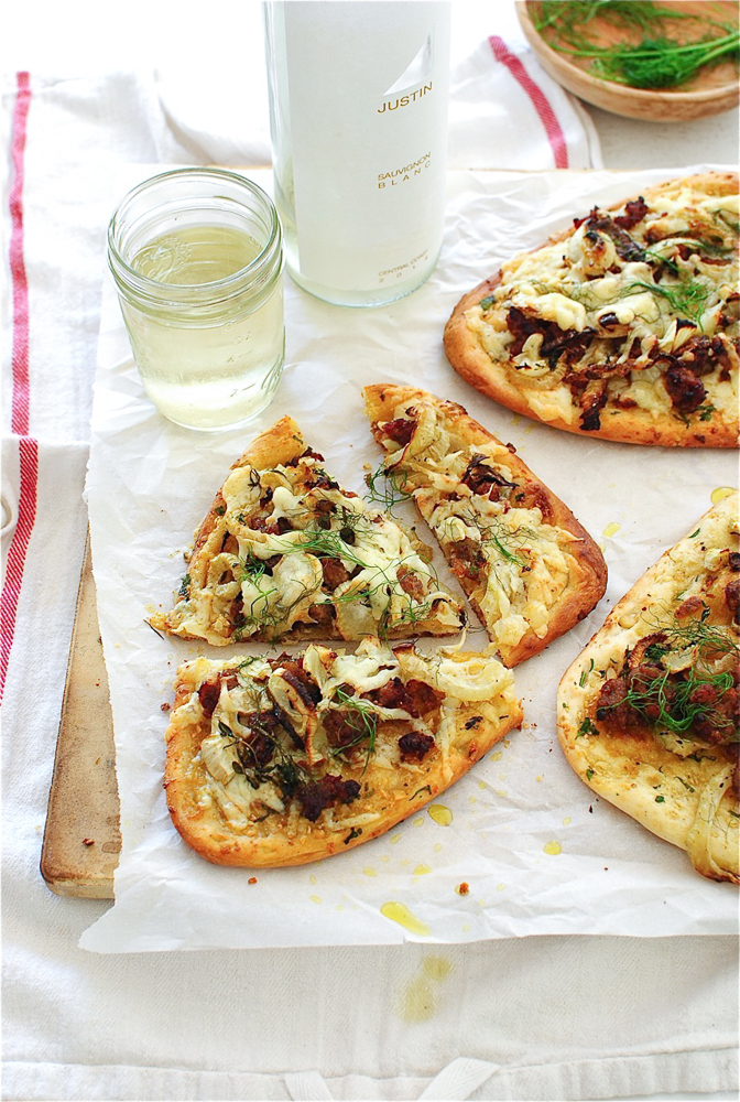 Roasted Fennel and Italian Sausage Naan Pizzas / Bev Cooks