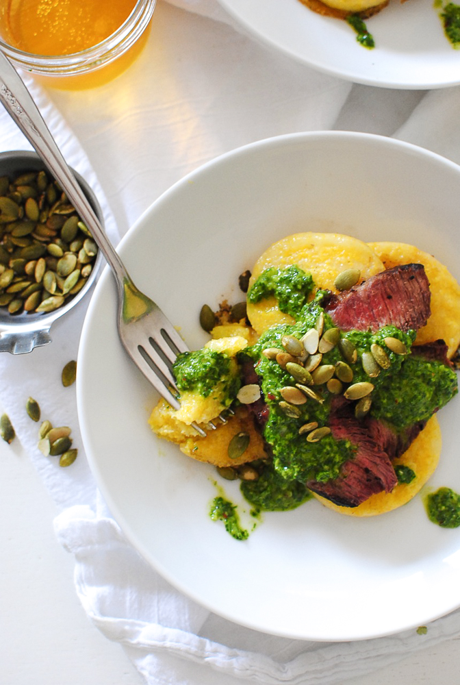 Seared Steak and Polenta with Chimichurri / Bev Cooks