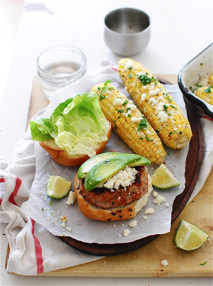 Sun-dried Tomato Turkey Burgers with Roasted Queso Corn / Bev Cooks