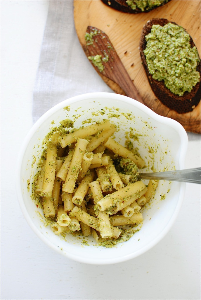Roasted Broccoli Pesto / Bev Cooks