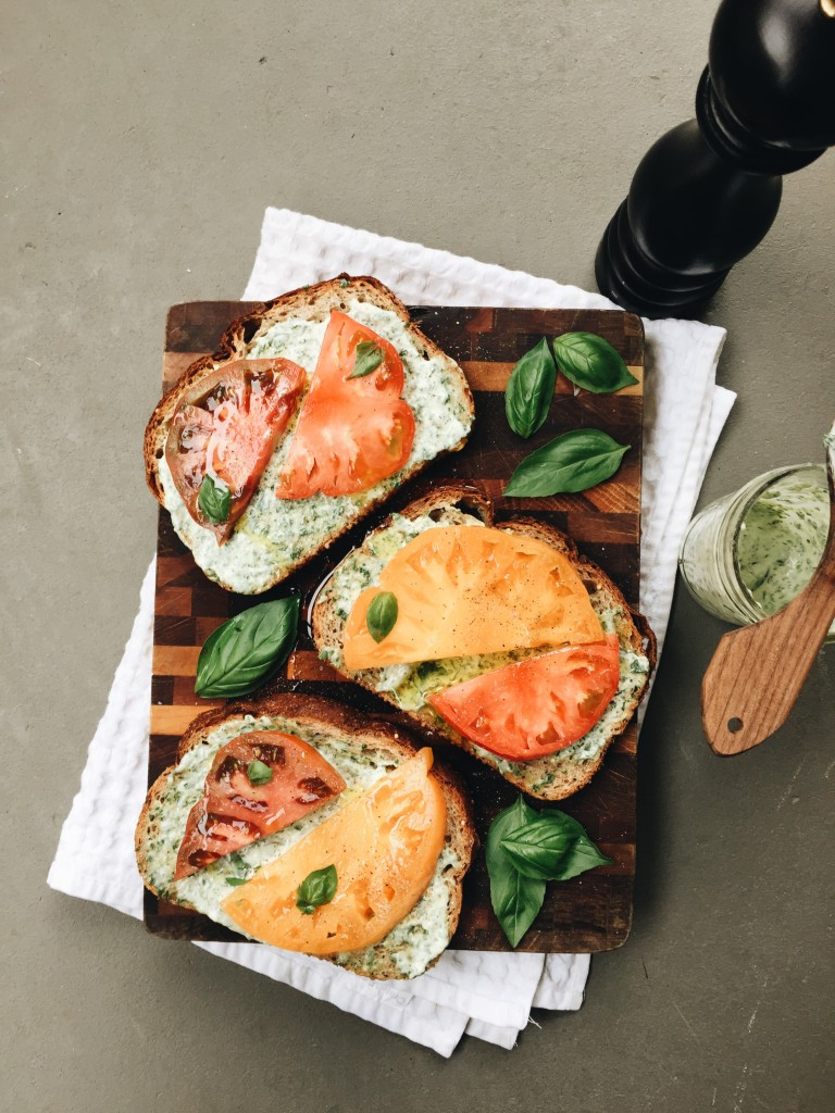 Open-Faced Heirloom Tomato and Basil Sandwiches / Bev Cooks
