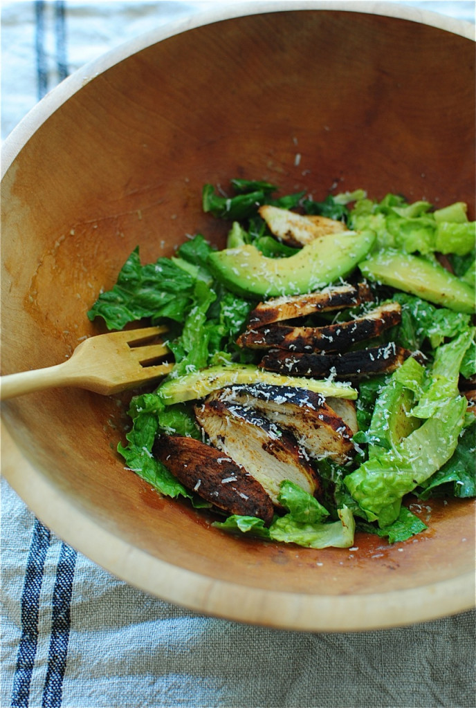 Blackened Chicken Caesar Salads with Avocado / Bev Cooks