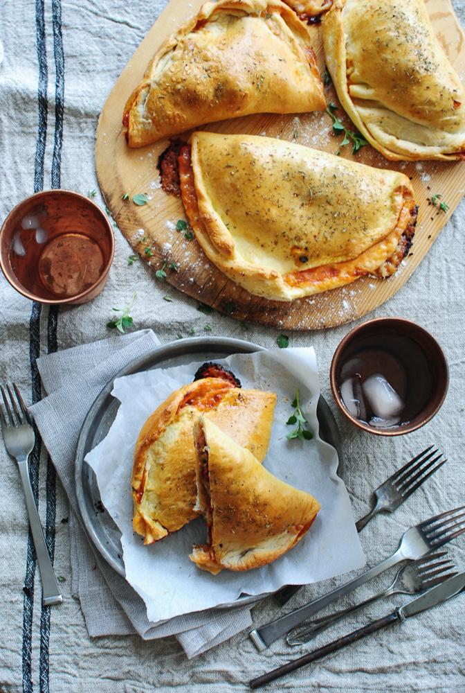 Italian Sausage and Roasted Red Pepper Calzones / Bev Cooks