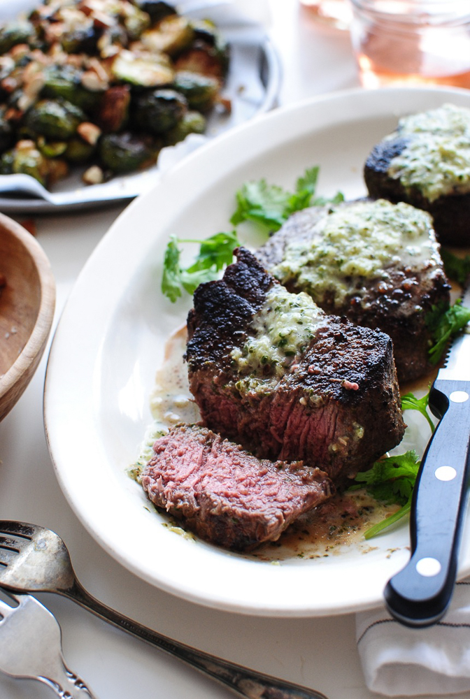 Creamy Roasted Hatch Chile Sauce with Steak and Roasted Brussels Sprouts / Bev Cooks