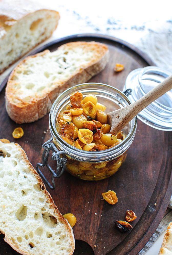 Slow-Roasted Golden Tomato Bruschetta / Bev Cooks