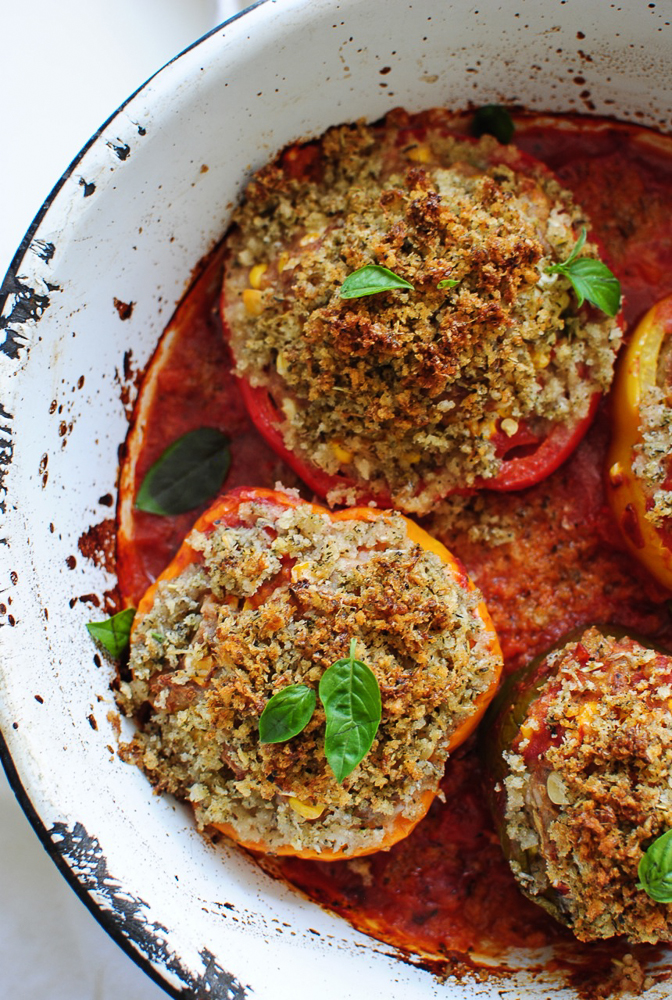 Easiest Ever Stuffed Peppers / Bev Cooks