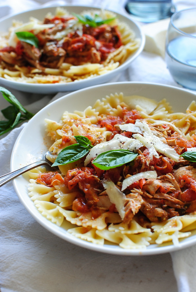 Slow Cooker Chicken and Tomatoes with Bow Tie Pasta / Bev Cooks