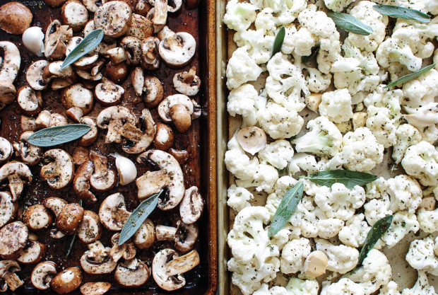 Roasted Cauliflower and Mushroom Pizza / Bev Cooks