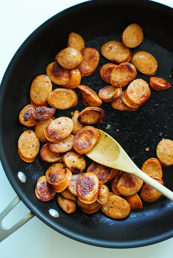 Open-Faced Greek Chicken Sausage Gyros / Bev Cooks
