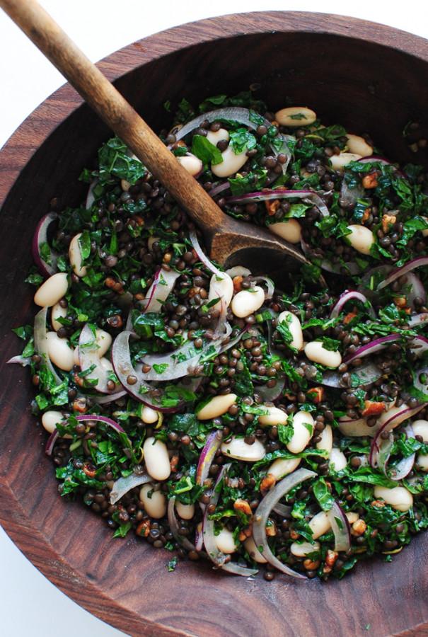 Lentil, Kale and White Bean Salad / Bev Cooks