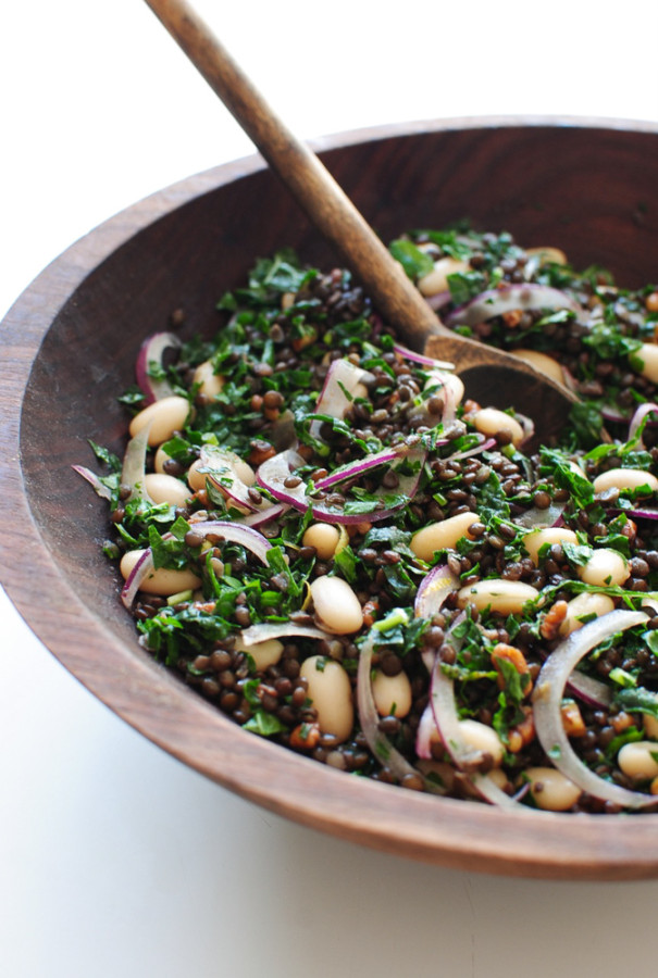 Lentil, Kale and White Bean Salad / Bev Cooks