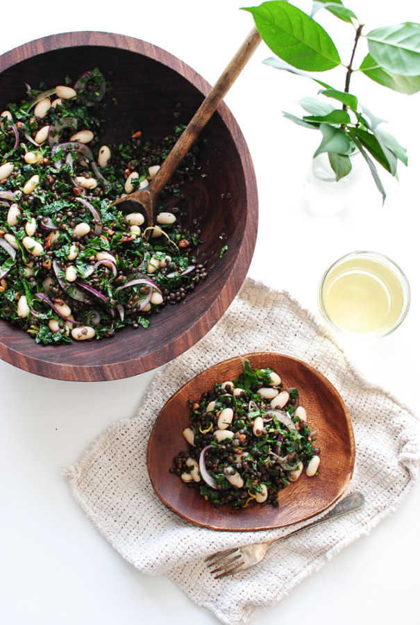 Lentis, Kale and White Bean Salad / Bev Cooks