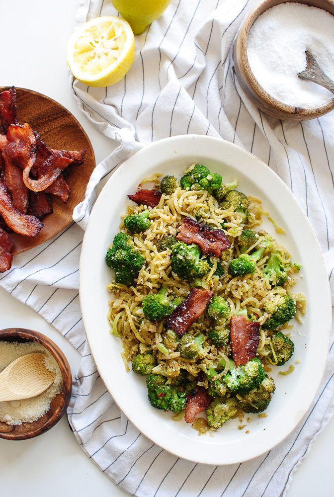 Lemon Garlic Broccoli with Bacon / Bev Cooks